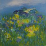Alm / Alpine pasture, 2018, Acryl auf Leinwand, 80 x 80 cm