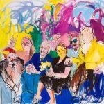 Janina C. Bruegel: Auf ihren Stirnen hat gelber Schein alle Gedanken verdrängt; On their foreheads gleams a yellow shine, 2015 (Menschen bei Nacht / People at Night) Acryl und Tusche auf Leinwand, 140 x 150 cm