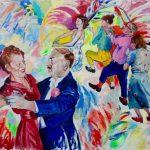 Janina C. Bruegel: In ihren Blicken flackert der Wein; Their glances flicker mad from wine, 2015 (Menschen bei Nacht / People at Night) Acryl und Tusche auf Leinwand, 120 x 140 cm