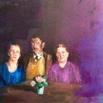 Janina C. Bruegel: Um Menschen zu schauen ins Angesicht; To look on strangers in your room, 2015 (Menschen bei Nacht / People at Night) Acryl und Tusche auf Leinwand, 80 x 100 cm