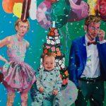 Janina C. Bruegel: Happy Birthday, 2019 (Die Narzissmus Epidemie / The Narcissism Epidemic) Acryl und Tusche auf Leinwand, 145 x 135 cm
