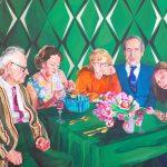 Janina C. Bruegel: Quality Time, 2019 (Die Narzissmus Epidemie / The Narcissism Epidemic) Acryl und Tusche auf Leinwand, 140 x 155 cm