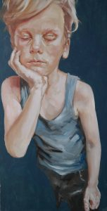 Suzan Schuttelaar, 2016, Sleepy, 84 x 41,5 cm, oil on medium-density fiberboard, € 2.800