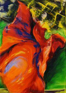 Bettina Mauel, Beflügelt [Tanz], 2018, Oil on canvas, 155 x 110 cm