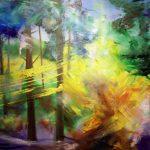 Bettina Mauel, Blattwirbel [Waldbaden], 2019, Öl auf Leinwand, 120 x 160 cm