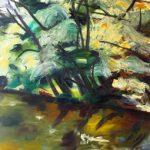 Bettina Mauel, Le Courant XXI [Moorfluss], 1990, Öl auf Leinwand, 190 x 160 cm