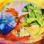 Bettina Mauel, Reigen II [Tanz], 2018, Öl auf Leinwand, 160 x 280 cm