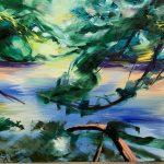 Bettina Mauel, Shinrin yoku XI [Waldbaden], 2019, Öl auf Leinwand, 90 x 170 cm