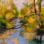 Bettina Mauel, Wasserwege I [Waldbaden], 2019, Öl auf Leinwand, 120 x 150 cm