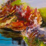 Bettina Mauel, Wasserwege VII [Waldbaden], 2019, Öl auf Leinwand, 100 x 120 cm