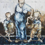 Bernd-Wolf Dettelbach, Aufpassen!, 2014, Öl auf Leinwand, 150 x 120 cm