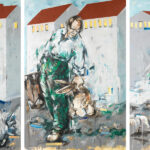 Bernd-Wolf Dettelbach, Siedlung, 2019, Oil on canvas, 360 x 180 cm, Triptychon