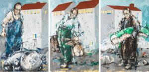 Bernd-Wolf Dettelbach, Siedlung, 2019, Oil on canvas, 360 x 180 cm, Triptychon, € 18.000