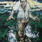 Bernd-Wolf Dettelbach, Spieler, 2014, Öl auf Leinwand, 150 x 110 cm