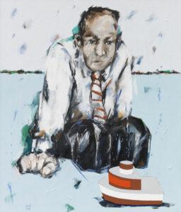 Bernd-Wolf Dettelbach, Wassersitzer, 2018, Oil on canvas, 70 x 60 cm
