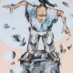 Bernd-Wolf Dettelbach, Helden und Mythen: Ikarus, 2019, Oil on canvas, 30 x 24 cm