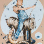 Bernd-Wolf Dettelbach, Helden und Mythen: Sankt Georg, 2019, Oil on canvas, 30 x 24 cm